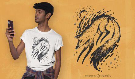 Diseño de camiseta de zorro mágico.