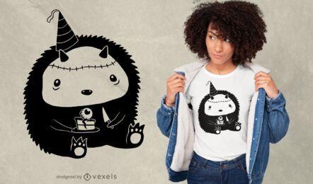 Diseño de camiseta de personaje de monstruo lindo