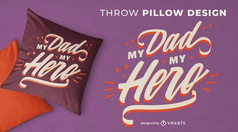 Diseño de almohada de tiro de cita del día del padre