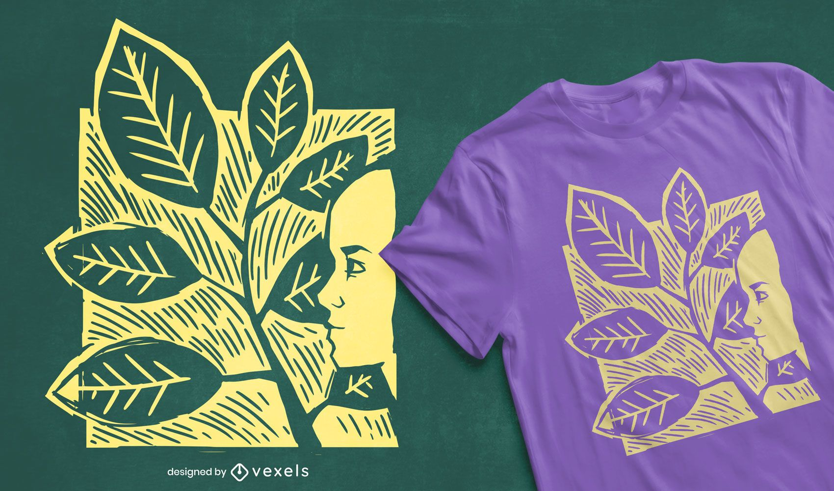 Leaves woman t-shirt design