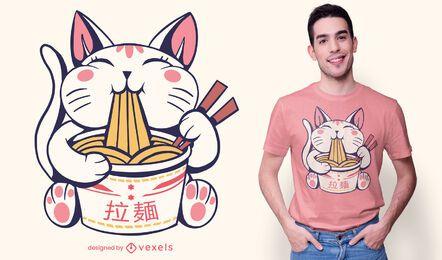 Lindo diseño de camiseta de gato ramen