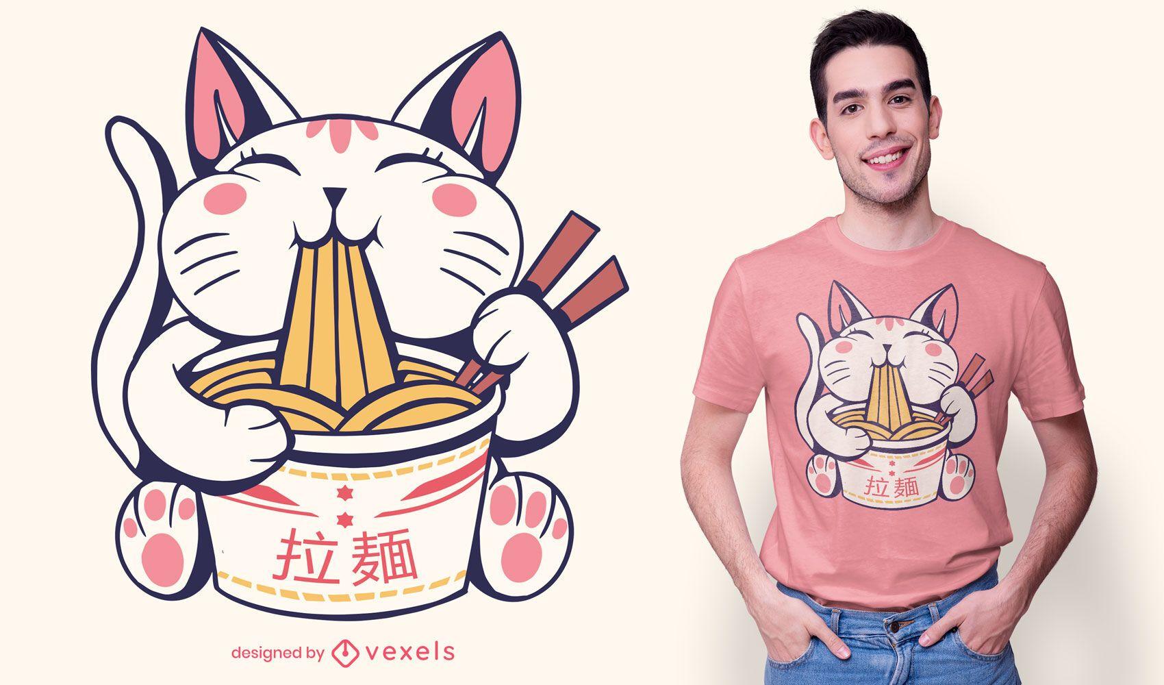 Design fofo de t-shirt de gato ramen