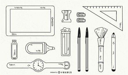Conjunto de vectores de objetos dibujados a mano.