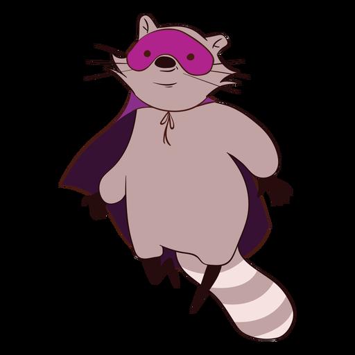 Raccoon superhero flying cartoon