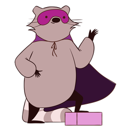 Raccoon superhero cartoon