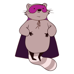 Raccoon hero flying cartoon