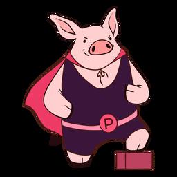 Héroe de cerdo con dibujos animados de capa