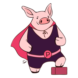 Pig hero with cape cartoon
