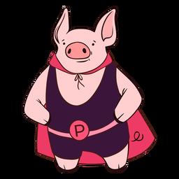 Dibujos animados de cerdo con capa