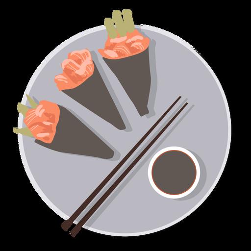 Sushi temaki food plate