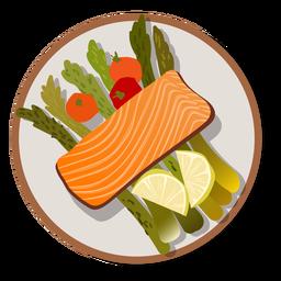 Salmon and salad meal