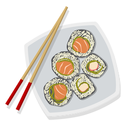 Sushi illustration japanese food