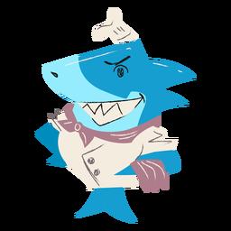 Personaje plano de chef de tiburón