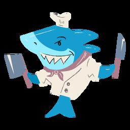 Chef de tiburón cocinando personaje plano