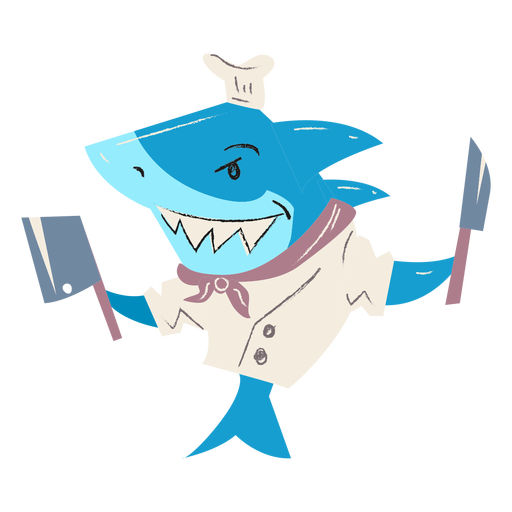 Shark chef cooking flat character
