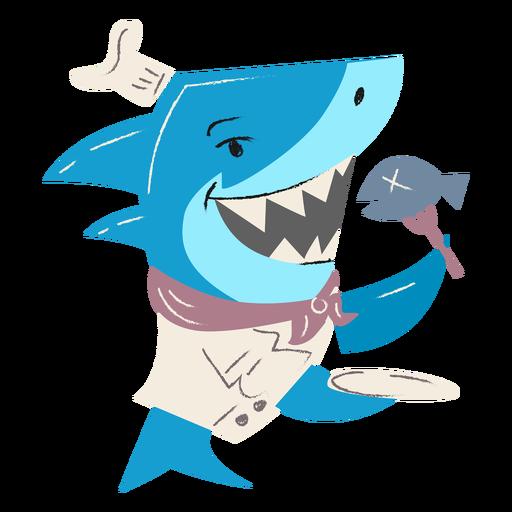 Shark chef fish plate character
