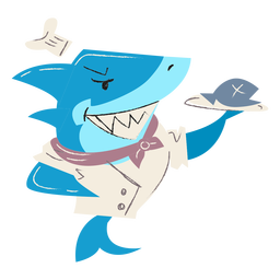 Shark cooking fish plate character