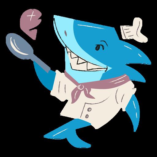 Carácter de sartén de chef de tiburón