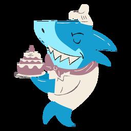 Carácter de pastel de panadero de tiburón