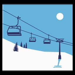 Ski lift composition flat