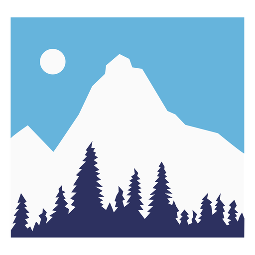 Snowy mountain composition flat Transparent PNG