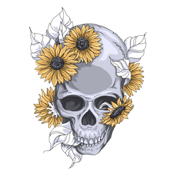 Sunflowers skull illustration