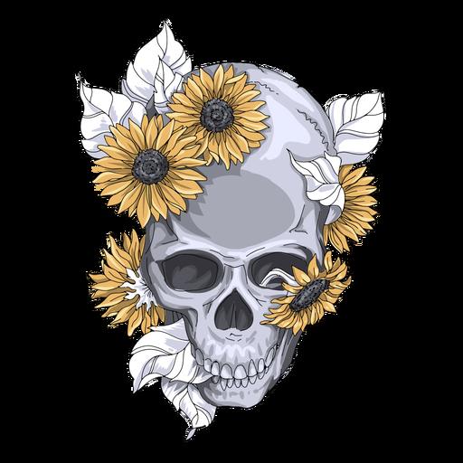 Ilustração de crânio de girassóis