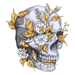 Plants skull illustration