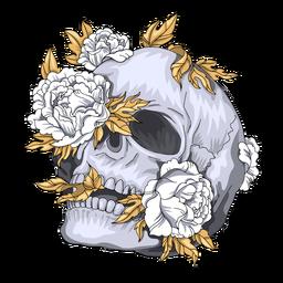 Ilustración de flores de calavera inclinada