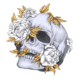 Leaning skull flowers illustration