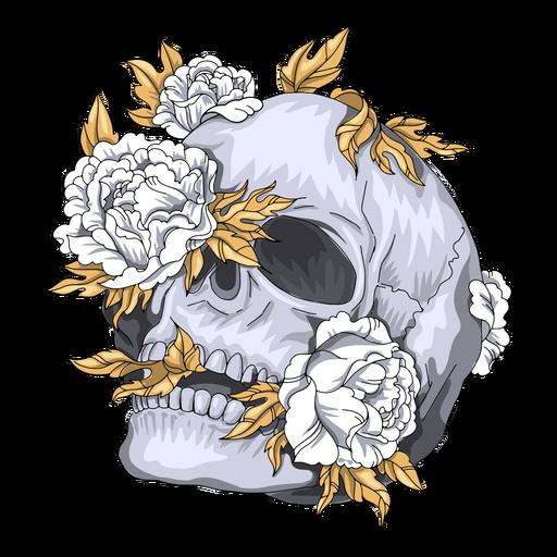 Leaning skull flowers illustration