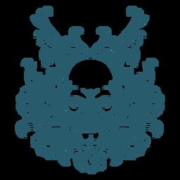 Arte de linha ornamental de caveira louca