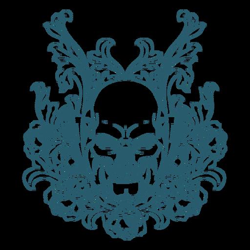 Mad skull ornamental line art