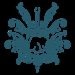 Arte de línea de adornos de espada de calavera