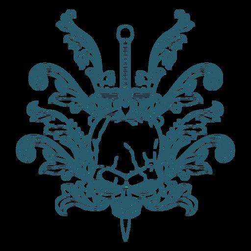 Skull sword ornaments line art