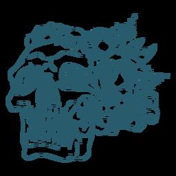 Crânio com arte de linha de flores