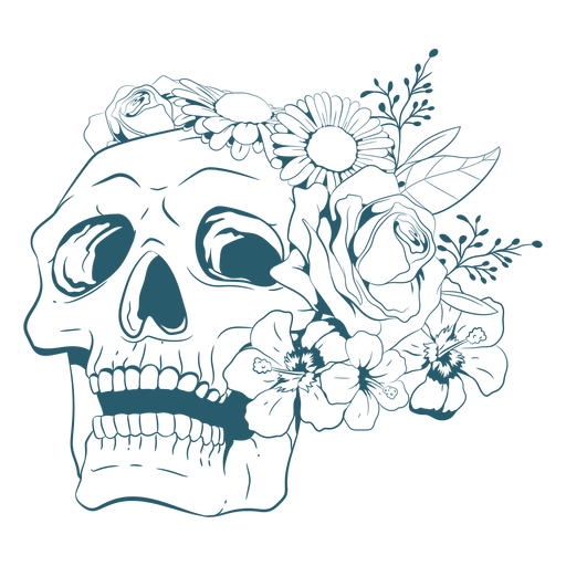 Skull with flowers line art Transparent PNG