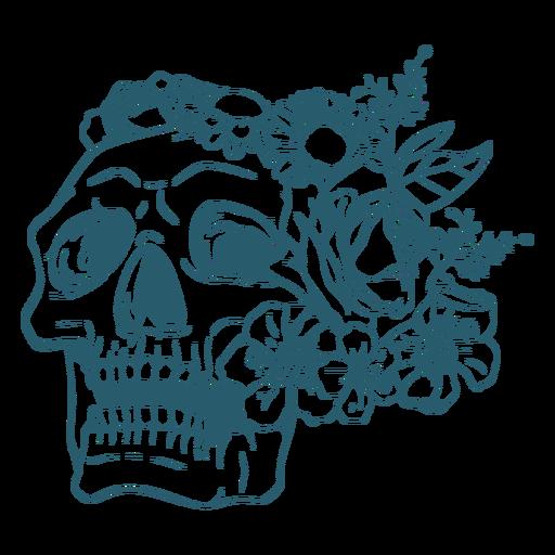 Skull with flowers line art
