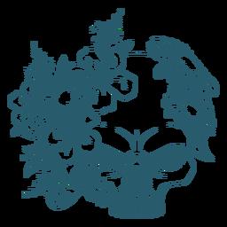 Arte de linha de caveira floral com raiva