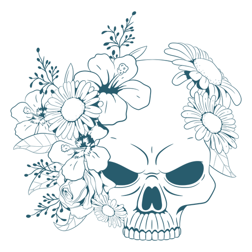 Angry floral skull line art