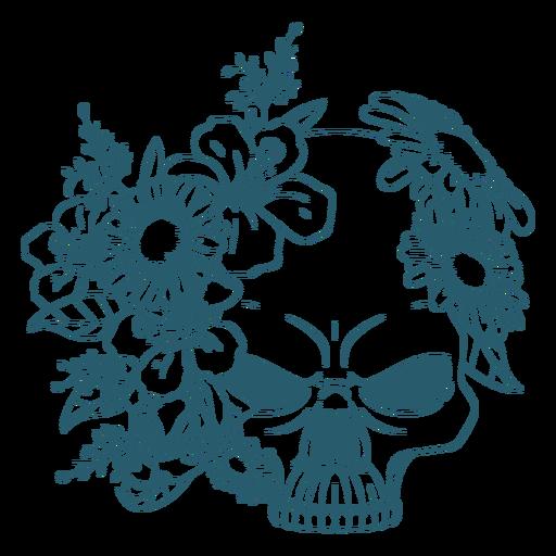 Arte de línea de cráneo floral enojado
