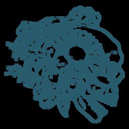 Perfil floral cráneo arte lineal