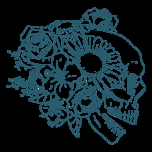 Linha de arte floral do crânio do perfil