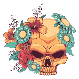 Floral skull ornamented illustration