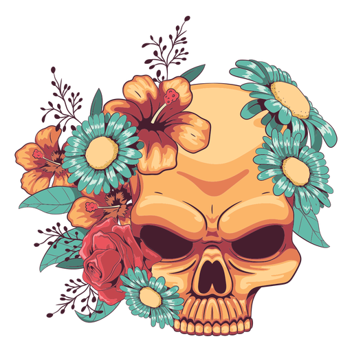 Floral skull ornamented illustration