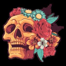 Buscando ilustración de cráneo floral