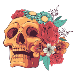 Looking up floral skull illustration