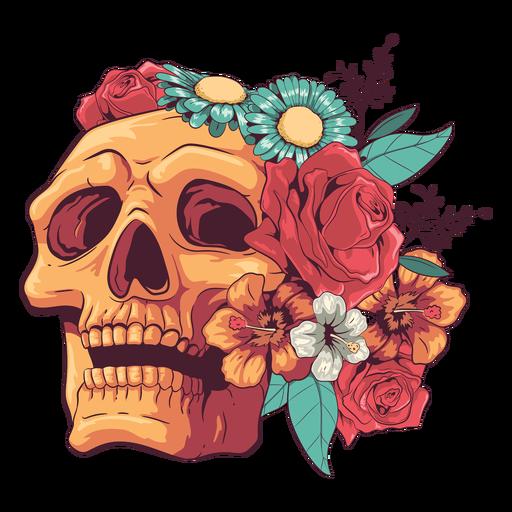 Looking up floral skull illustration