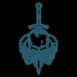 Arte da linha da espada de três crânios