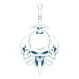 Three skulls sword line art